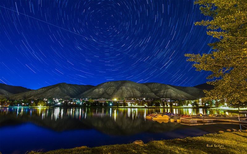 A Streak Made by the ISS Over Nottingham Lake in Avon, Colorado. (30 One Minute Exposures Combined)