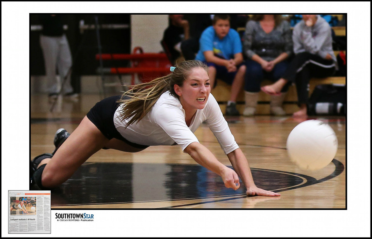 Lockport's Rachel Weis digs a ball in a match against Lincoln-Way Central. | Allen Cunningham/For Sun-Times Media
