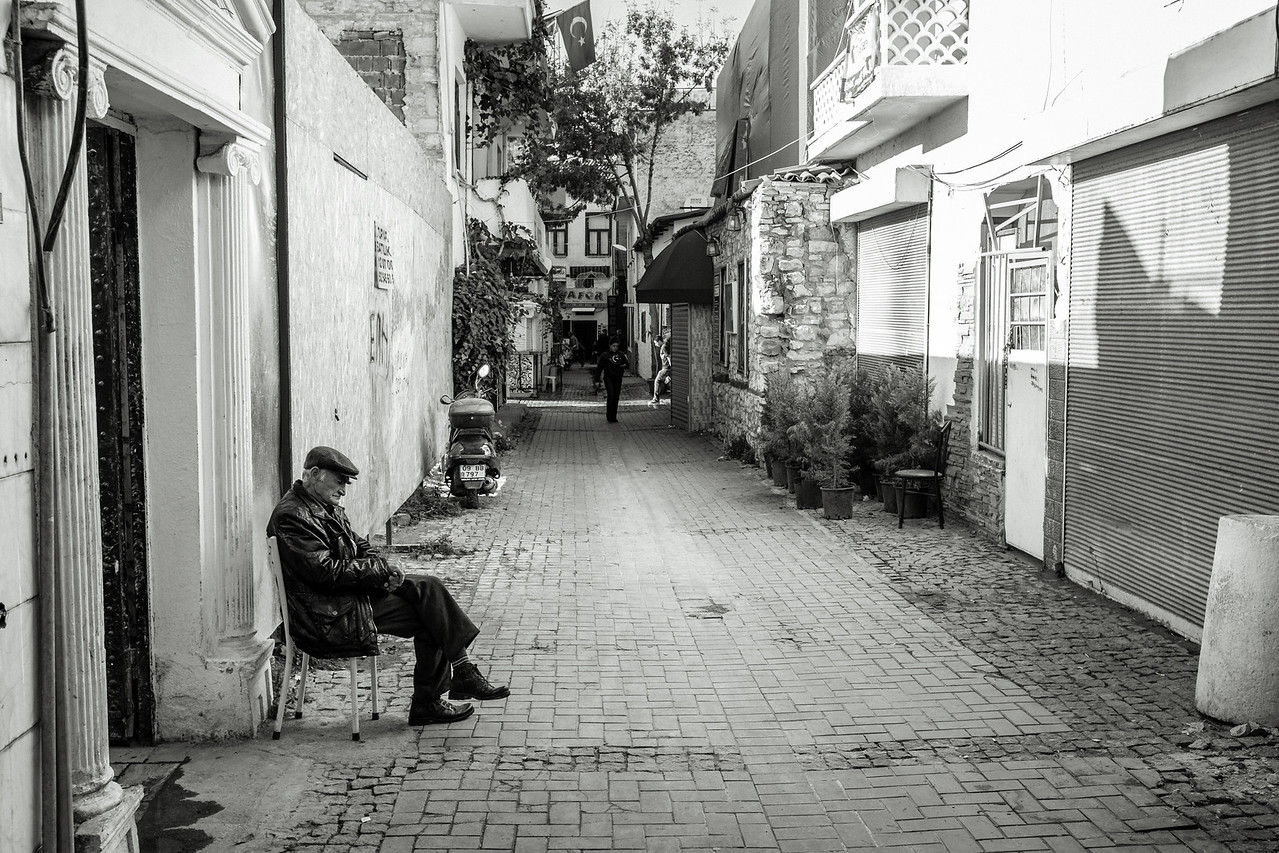Kusadasi Old Man Sitting on Street
