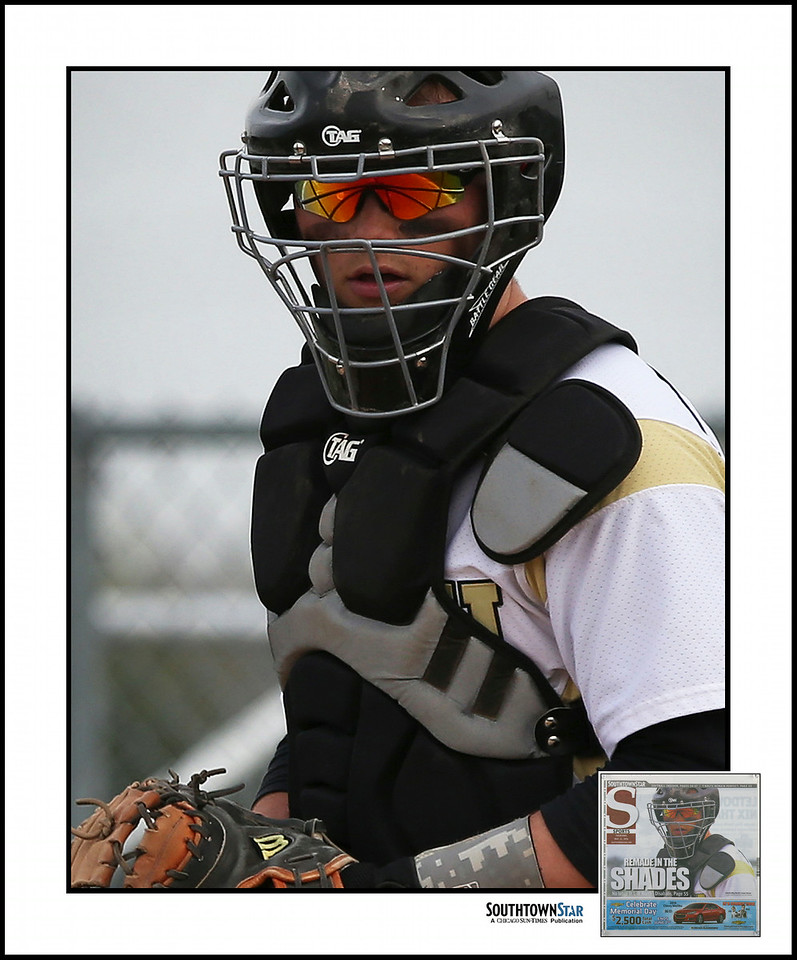 Lincoln-Way North's catcher Conor Grove eyes a base runner. | Allen Cunningham/For Sun-Times Media