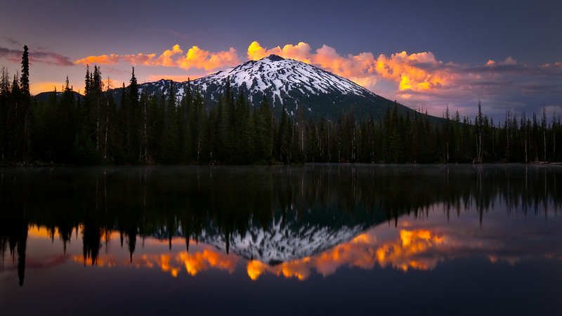 Sunrise and thunder-storm at Sparks lake with Mt. Bachelor