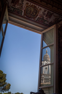 St Pauls Dome reflection, Vatican, Rome