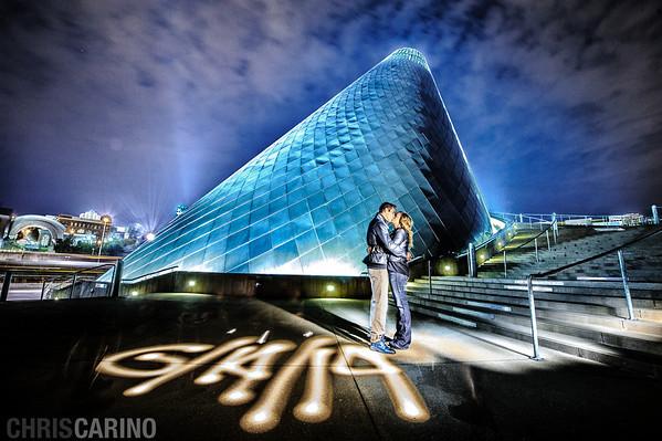 Tacoma glass museum engagement shoot wedding