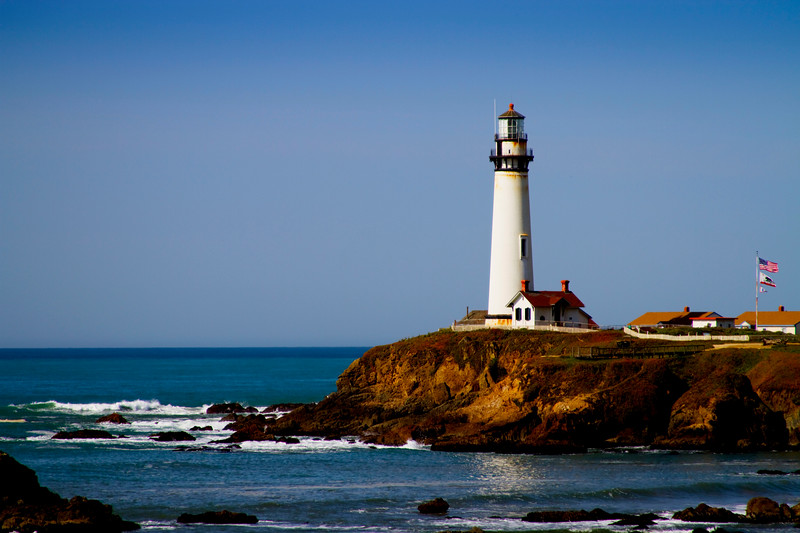 """""""Pigeon Point Light"""" - Pacific Coast Highway - Fifty miles to the south of San Francisco.  Pigeon Point is one of the tallest lighthouses in America. Perched atop a cliff on the central California coast, the 115-foot Lighthouse has guided mariners since 1872."""