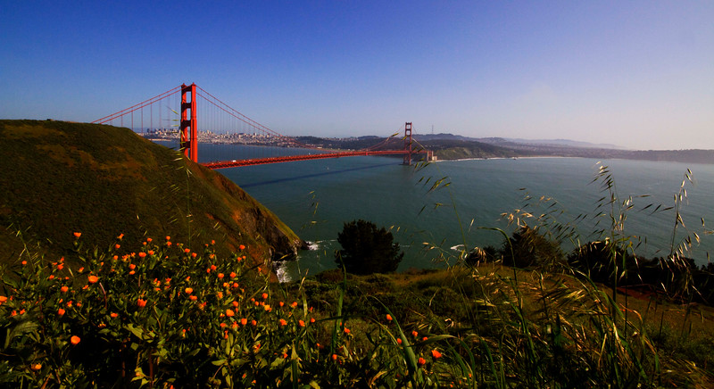The Golden Gate on a cloudless, no fog, March afternoon -