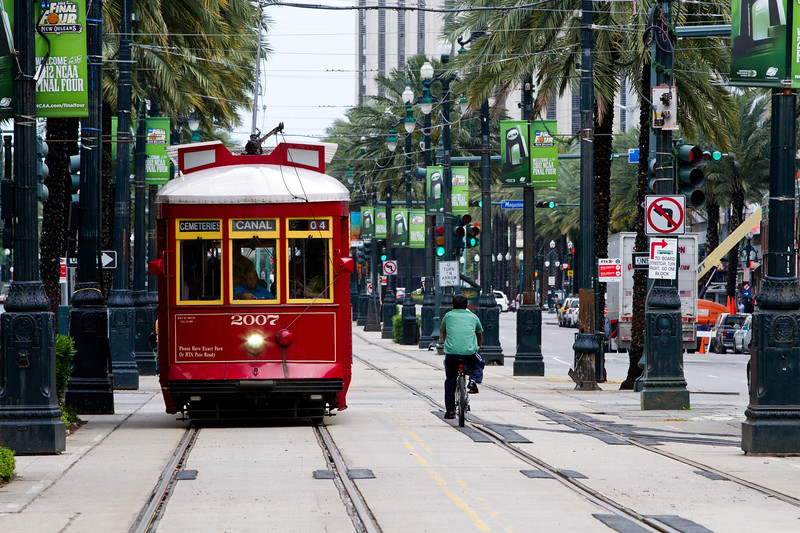 Three Bucks gets you a 'Jazzy Pass' and all day on and off the Cable Cars of New Orleans.. Canal Street Line would be the backbone of the line as it connects at the Mississippi with the Riverfront Line, and intersects at St Charles Street with the St Charles Line that heads west to Carrollton passing through the Business District, Museum and Galleries, Garden District, Loyola and Tulane Universities..