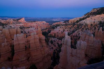 Dusk, from Fairyland Point. Bryce Canyon, Utah.