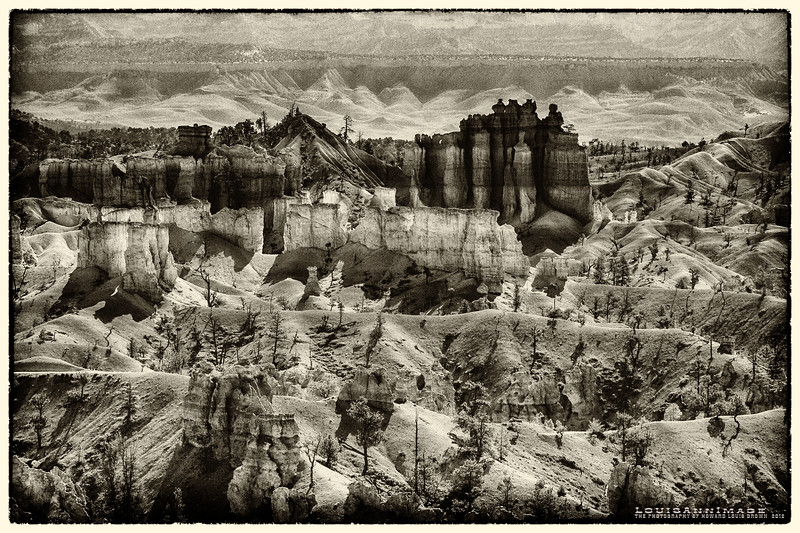 Bryce Western Rim View - Antique Plate, Bryce Canyon National Park, Utah