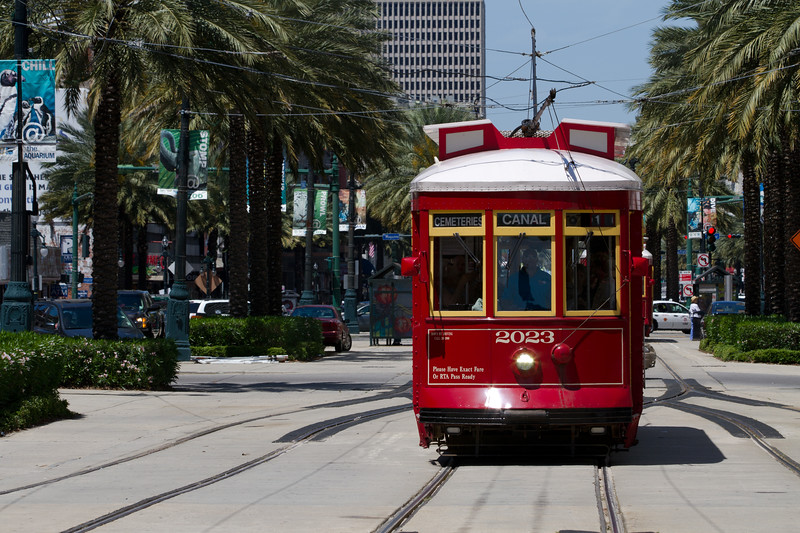 Three Bucks gets you a 'Jazzy Pass' and all day on and off the Cable Cars of New Orleans.. Canal Street Line would be the backbone of the line as it connects at the Mississippi with the Riverfront Line, and intersects at St Charles Street with the St Charles Line that heads west to Carrolton passing through the Business District, Museum and Galleries, Garden District and past Loyola and Tulane Universities..