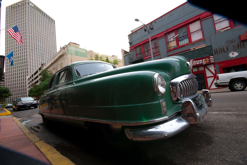 A few photo-worthy images of the Amazing Automobile, New Orleans style..   and parked right on the streets! '51 Nash Airflight.