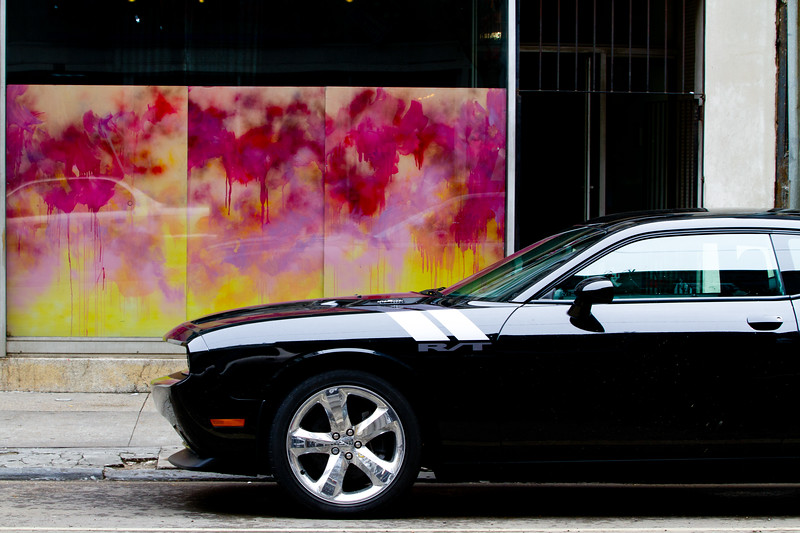 (Unframed Version) A few photo-worthy images of the Amazing Automobile, New Orleans style..   and parked right on the streets! Dodge Challenger R/T.