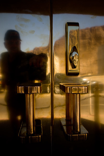 Self Portrait - Reflection - Nevada Side Elevator - Polished Brass Lobby Door Pull.  On the Highway 93 deck, Hoover Dam, Boulder City, Nevada