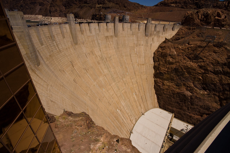 From the Visitor Center Observation Deck - Nevada Side.  Hoover Dam