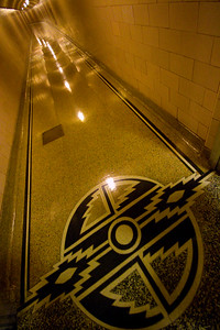 One of many hallway/tunnels that transverse deep inside the dam.  Even in the 1930's, Southwestern art influenced the designers of the Hoover Dam. Tens of thousands of square feet of polished terrazo stone flooring lines the floors inside the dam.