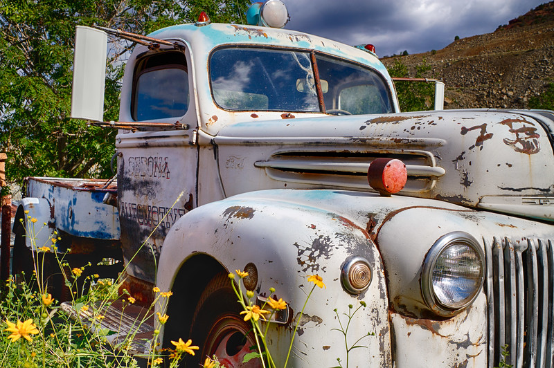 'Sedona Automotive...' Retired, but not dead. Gold King Mine & Ghost Town, Jerome, Arizona.