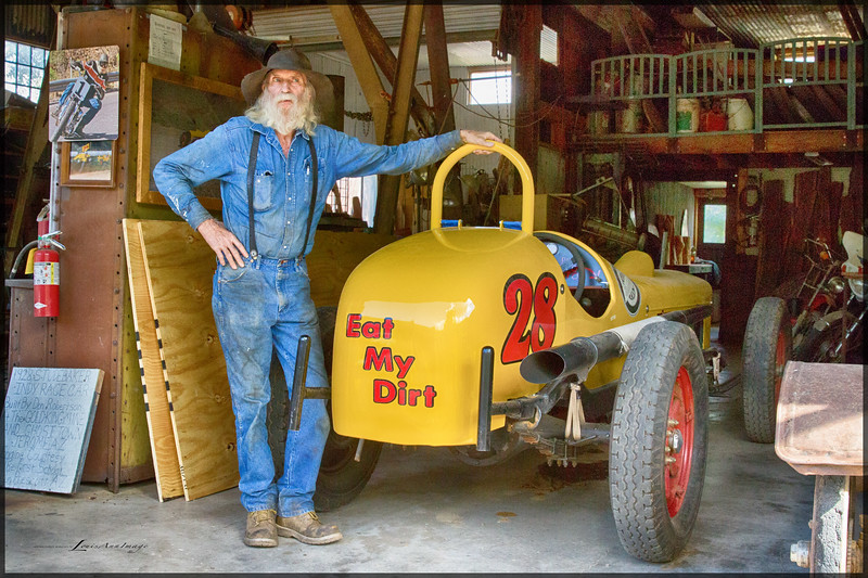Don Robertson - Proprietor, Gold King Mine & Ghost Town, with his hand built, 30's era Studebaker powered race car. Jerome, Arizona