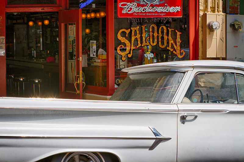 """Happy Hour Chariot...' '60 Chevy El Camino on the street - Jerome, Arizona - Three Exposure HDR.1/200 s, 1/100 s, 1/50 s @ f/9, ISO 100, EF70-200mm f/2.8L IS II USM  @ 70 mm."
