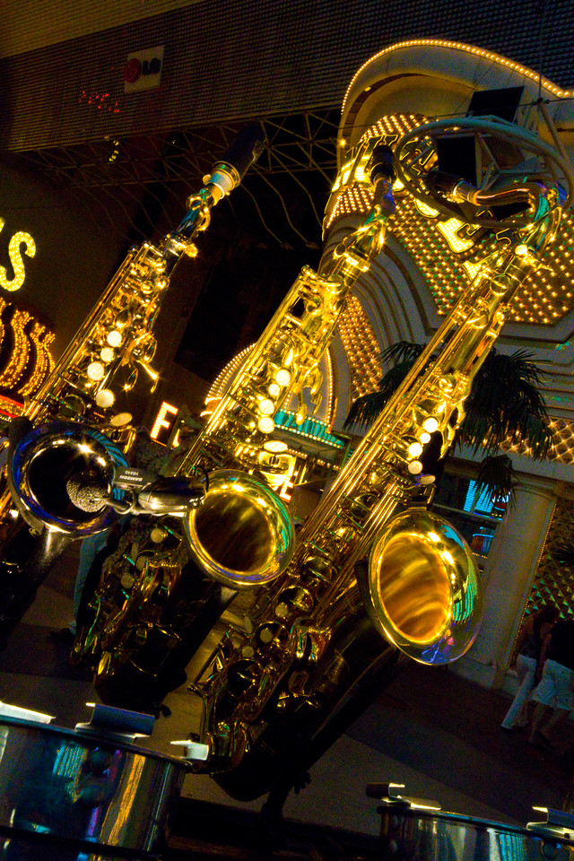 Saxophone's awaiting their horn blower(s) Fremont Street Experience - Light & Sound, Las Vegas, Nevada