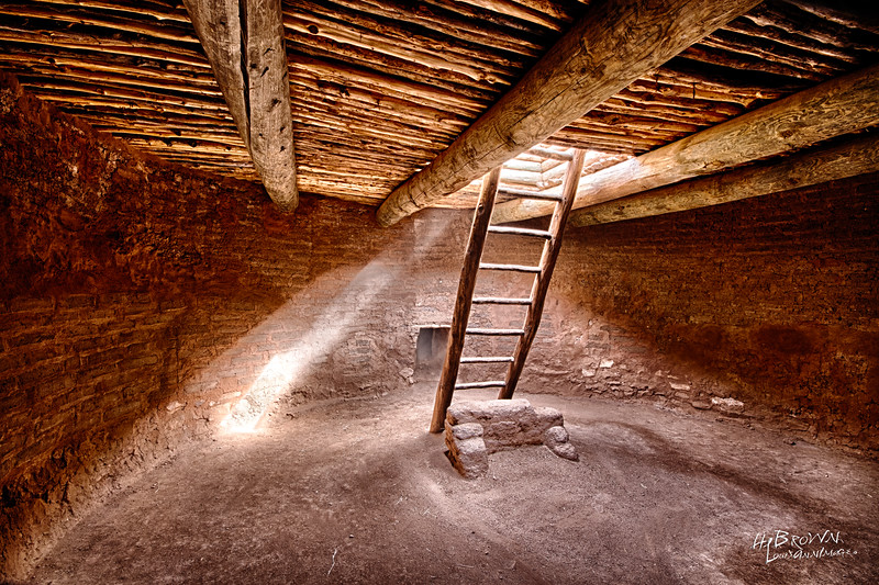 'An afternoon sun illuminates the interior of a ceremonial Kiva..' Pecos National Historical Park, Pecos, NM - On the site of the remains of Mission Nuestra Señora de los Ángeles de Porciúncula de los Pecos, a Spanish mission near the pueblo built in the early 17th century.