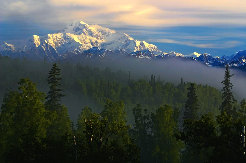 """The Mountain Comes Out!""  Denali in the morning - So often shrouded in clouds, Mt. Mckinley gave us a treat this cool June morning by kicking off her covers and proudly displaying her incredible beauty. At almost four miles above sea level, she is a natural wonder.  Denali Princess Lodge, Talkeetna, Alaska -  From our archives, June 2004."