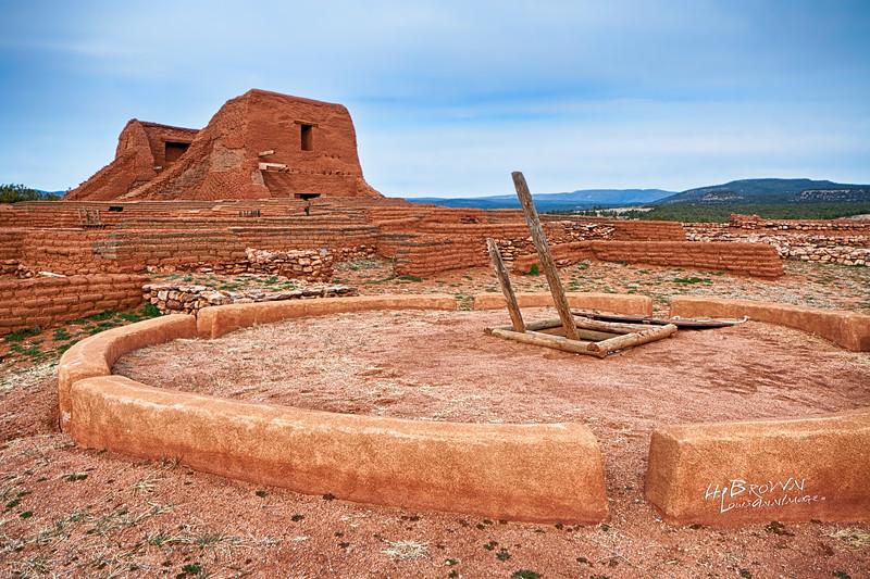 'Atop the Kiva..' Pecos National Historical Park, Pecos, NM - The remains of Mission Nuestra Señora de los Ángeles de Porciúncula de los Pecos, a Spanish mission near the pueblo built in the early 17th century.