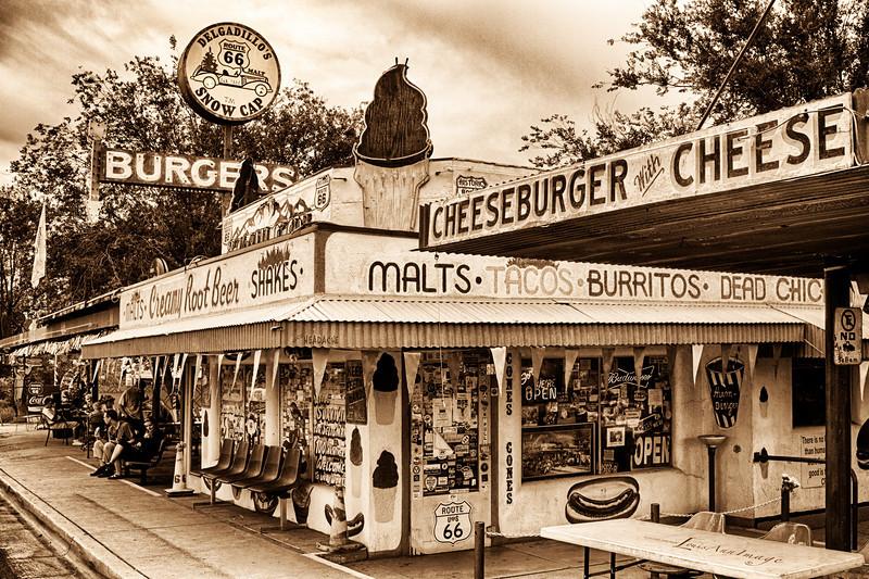 Cheeseburgers With Cheese at Delgadillo's Snow Cap...