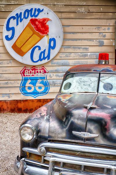 Behind Juan Delgadillo's Snow Cap Hamburger stand and Ice Cream shop - we find this perfectly balanced bit of Arizona Still Life...