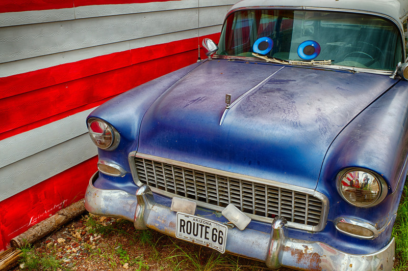 A '55 Chevy, equipped with 'eyes...'