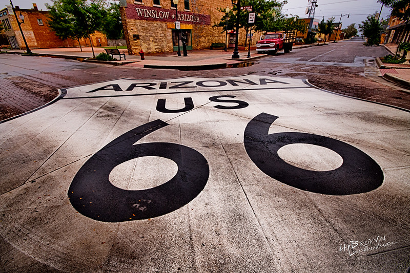 Could Route 66 be any bigger?!?  Maybe, maybe not.  On the Corner of Second & Kinsley.  There's no more Mother Road Spirit anywhere than here... Winslow - Yeah!<br /> <br /> Please feel free to Share Socially!  Photo May Not Be Printed, Marketed or Sold Without Express Written Consent of The Author. All Rights Reserved - 2014 LouisAnnImage© louisannimage.com<br /> <br /> Canon 7D, Sigma 10-20mm @ 10mm, f/9, three image HDR Set - 1/3200 s, 1/1600 s, 1/800 s, ISO 800, PS CC, NIK HDR Efex-Pro 2 - Custom Profile, NIK Viviza Selective Adjustments
