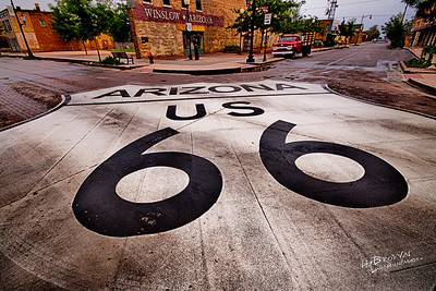 Could Route 66 be any bigger?!?  Maybe, maybe not.  On the Corner of Second & Kinsley.  There's no more Mother Road Spirit anywhere than here... Winslow - Yeah!  Please feel free to Share Socially!  Photo May Not Be Printed, Marketed or Sold Without Express Written Consent of The Author. All Rights Reserved - 2014 LouisAnnImage© louisannimage.com  Canon 7D, Sigma 10-20mm @ 10mm, f/9, three image HDR Set - 1/3200 s, 1/1600 s, 1/800 s, ISO 800, PS CC, NIK HDR Efex-Pro 2 - Custom Profile, NIK Viviza Selective Adjustments