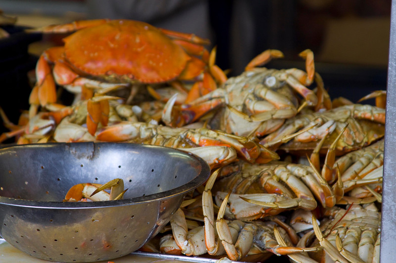 Classic San Francisco Dungeness Crab - ready for a quick sale.. Fisherman's Wharf, San Francisco
