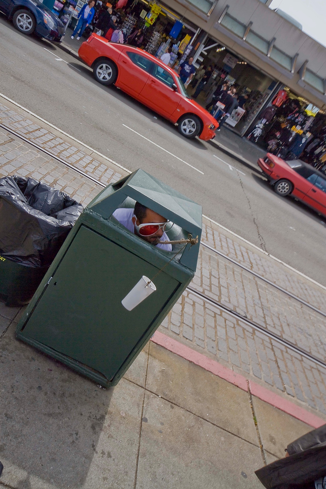 """Yes he's IN THE TRASH CAN!"" Donations accepted here...<br /> San Francisco"