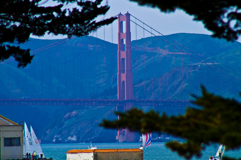 Golden Gate Framed..   Down hill from Ghirardelli  Square, San Francisco