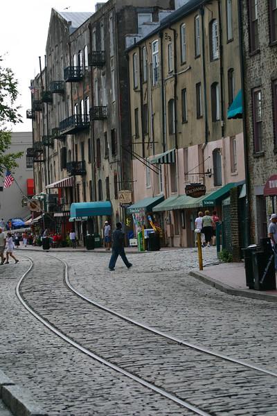 Warehouse district - River Street, on the waterfront - Port of Savannah - Savannah, Georgia