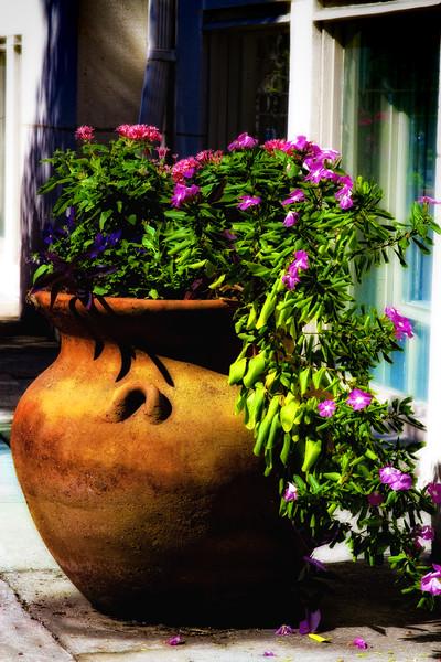 Urn of Flowers - Savannah Street Scene, Savannah, Georgia