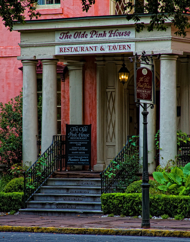 Long a significant eatery in Savannah, The Olde Pink House on Reynolds Square. Savannah, Georgia - November, 2010