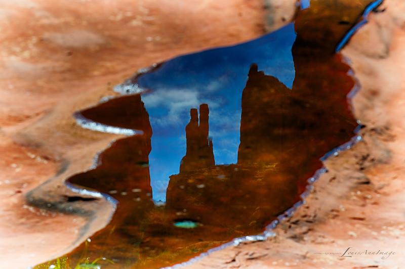 Cathedral Rock Reflection - Rainpool Framed Inversion, Oak Creek, Sedona, Arizona - Three Exposure HDR