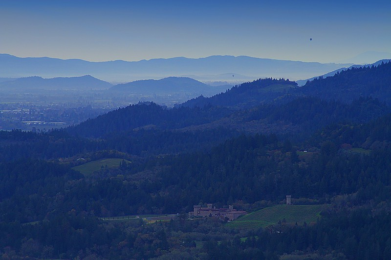 """Castello di Amorosa"" - Early Spring in the Napa Valley - View aloft a Hot Air Balloon, This is truly God's country."