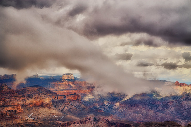 'Cloud Dance...' <br /> Desert View, Grand Canyon<br /> As the weather turned from partly cloudy to full-on rain, Mother Nature presented us with a show we've never quite witnessed before. Three Image Set - 1/800 s ~ 1/200 s @ f/11, ISO 200, EF24-70mm f/2.8L II USM @ 70 mm. NIK HDR EfexPro 2 - Custom Profile, NIK Viviza adjustments. LouisAnnImage© All Rights Reserved 2013 LouisAnnImage