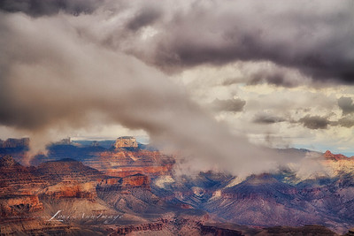 'Cloud Dance...'  Desert View, Grand Canyon As the weather turned from partly cloudy to full-on rain, Mother Nature presented us with a show we've never quite witnessed before. Three Image Set - 1/800 s ~ 1/200 s @ f/11, ISO 200, EF24-70mm f/2.8L II USM @ 70 mm. NIK HDR EfexPro 2 - Custom Profile, NIK Viviza adjustments. LouisAnnImage© All Rights Reserved 2013 LouisAnnImage