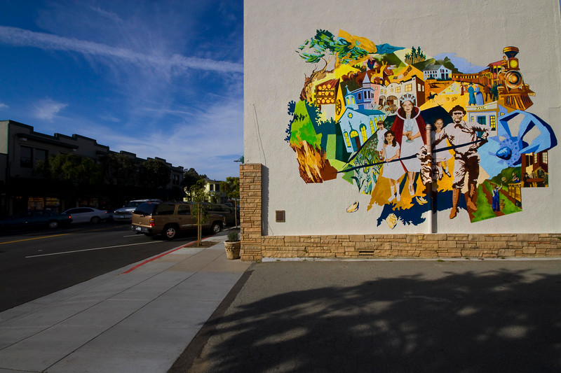 Mural, Street Scene, Half Moon Bay, California