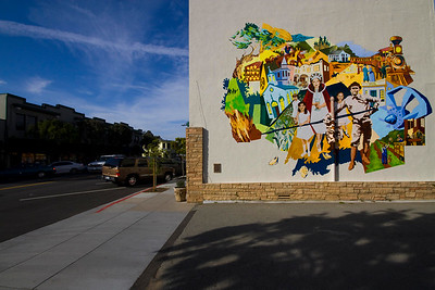Mural, Street Scene, Half Moon Bay, California