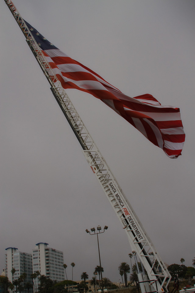 """Old Glory"" Flown by the Santa Monica Fire Department - September 11, 2010 - Santa Monica Pier, Santa Monica, California"