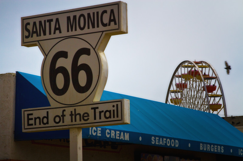 """End of the Trail"" Route 66 Terminus, Santa Monica Pier, Santa Monica, California"