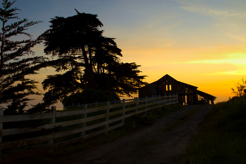 5-5-10 - South of Half Moon Bay - along the Pacific Coast Highway, this abandoned barn and rail fence became a wonderful subject just at dusk.