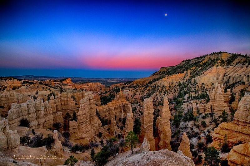 Fairyland Point - Bryce Canyon - Just outside the actual entrance to the National Park. Sunset - This image is 180 degrees to the sunset.  A bonus Utah full moonrise as well!