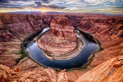 Horseshoe Bend - Colorado River at Glen Canyon, Page, AZ 3 exposure HDR.  Everyone needs to experience this place.  How inspiring it was for Red and I to sit on the edge of the earth and watch this sunset unfold before us..