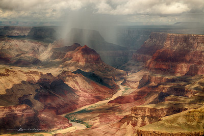Rain at Desert View - East Rim, above the Colorado, Grand Canyon, Arizona - A three image bracket HDR Set