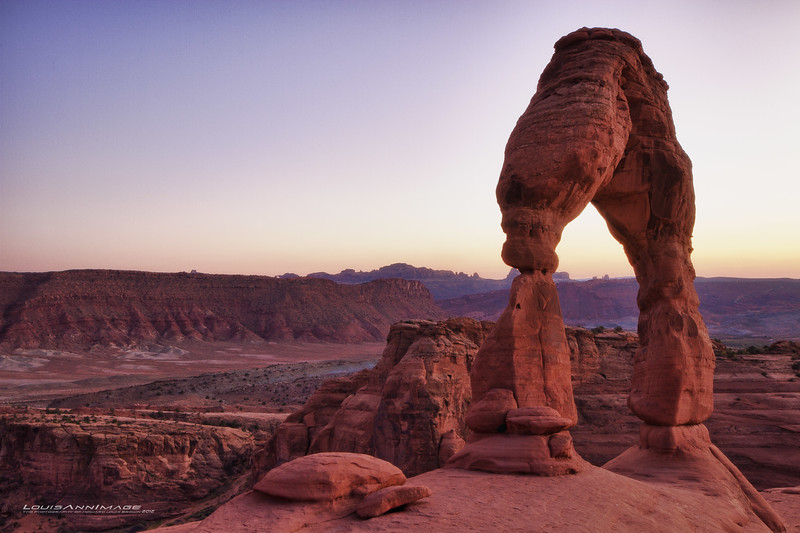 "Delicate Arch at dusk - Arches National Park, Moab, UT<br /> Three Exposure HDR<br /> See More of Arizona & Utah - ""The Southwestern Sun' here: <a href=""http://smu.gs/RfQCCf"">http://smu.gs/RfQCCf</a>"