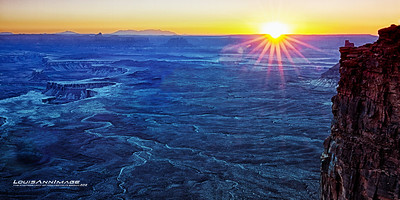 Green River Gorge at Sunset - From Islands in the Sky, Canyonlands National Park - Utah Three Exposure HDR
